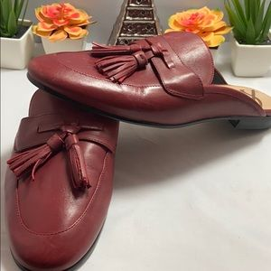 SAM EDELMAN Paris Red Leather Tassel Mules Loafers